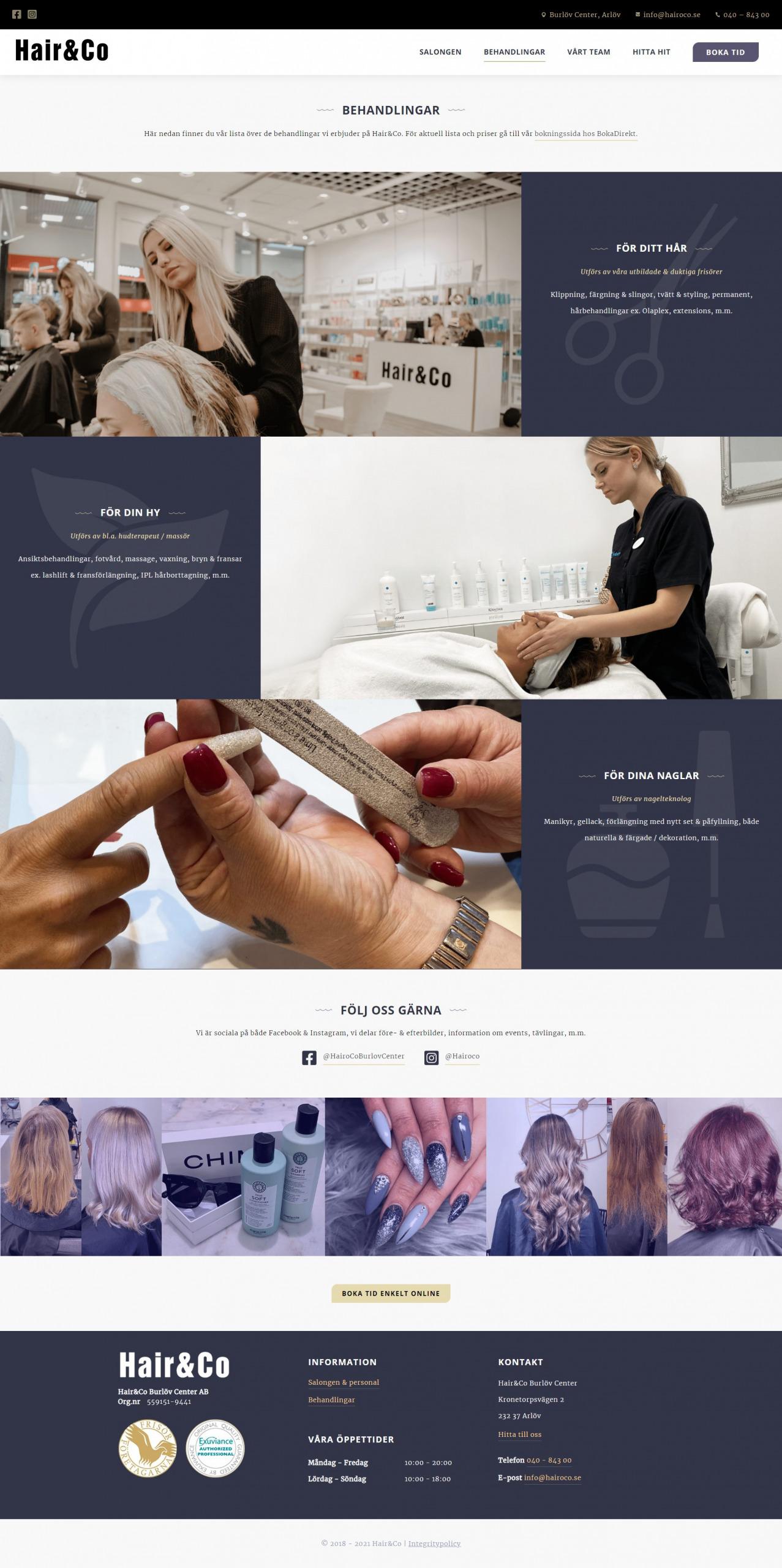Hair & Co Frisör - WordPress hemsida